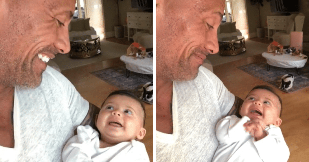 Dwayne Johnson starts conversation with 3-month-old daughter and her response is melting hearts