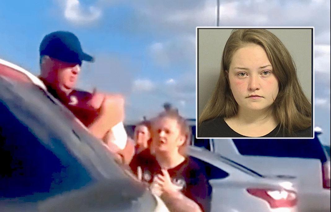 Women leave baby in a hot car while they buy liquor, then the police show up and serve instant justice