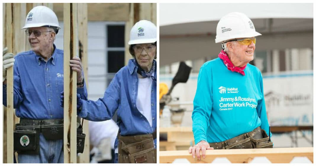 94-year-old Jimmy Carter returns to building homes with Habitat for Humanity after breaking hip