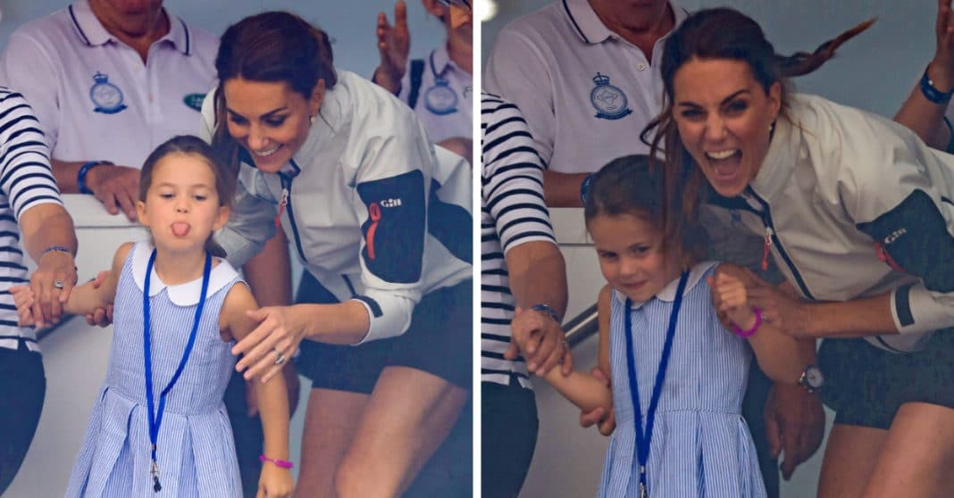 Proud mom Kate Middleton can't help but laugh after Princess Charlotte sticks tongue out at crowd