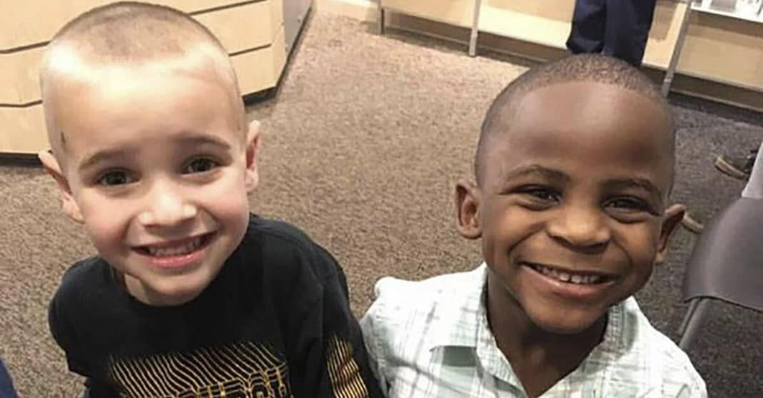 5-year-old best friends get the same haircut to trick their teacher so she won't be able to tell them apart