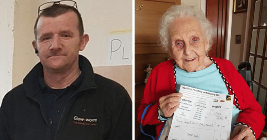 Plumber takes job at cancer-stricken 91-year-old's home, and his invoice is now going viral