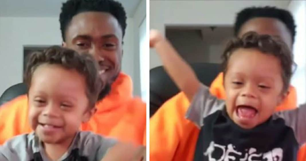 2-year-old with Down syndrome celebrates 11 months cancer-free with dad. Let's hear it for him!
