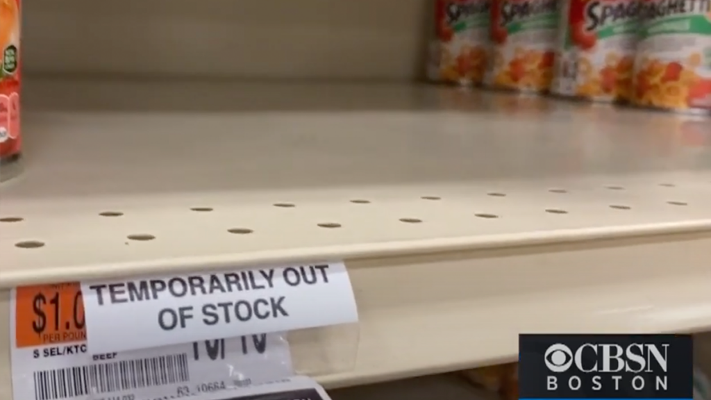 Store shelves are empty of SpaghettiOs