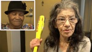 """Lorenza """"Lady Ninja"""" Marrujo holds a yellow bat"""
